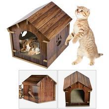 Гофрированная бумага для кошек DIY Дом царапина гофрированная бумага Сгущает кошачий дом кошка скребок складной котенок дом товары для домашних животных