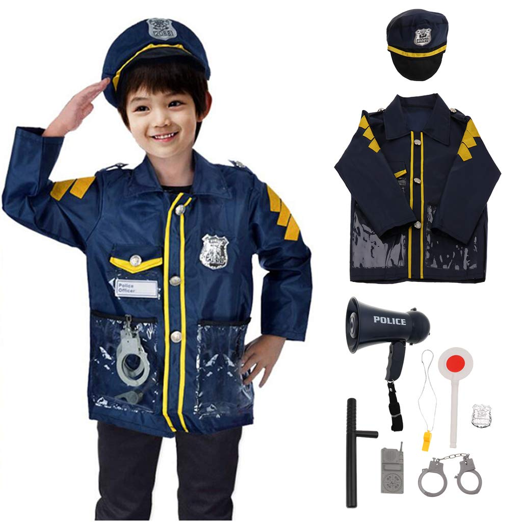 9 pièces Costume de Police avec mégaphone Performance accessoires Halloween Costume semblant jouer jeu de rôle jeu pour enfants enfants