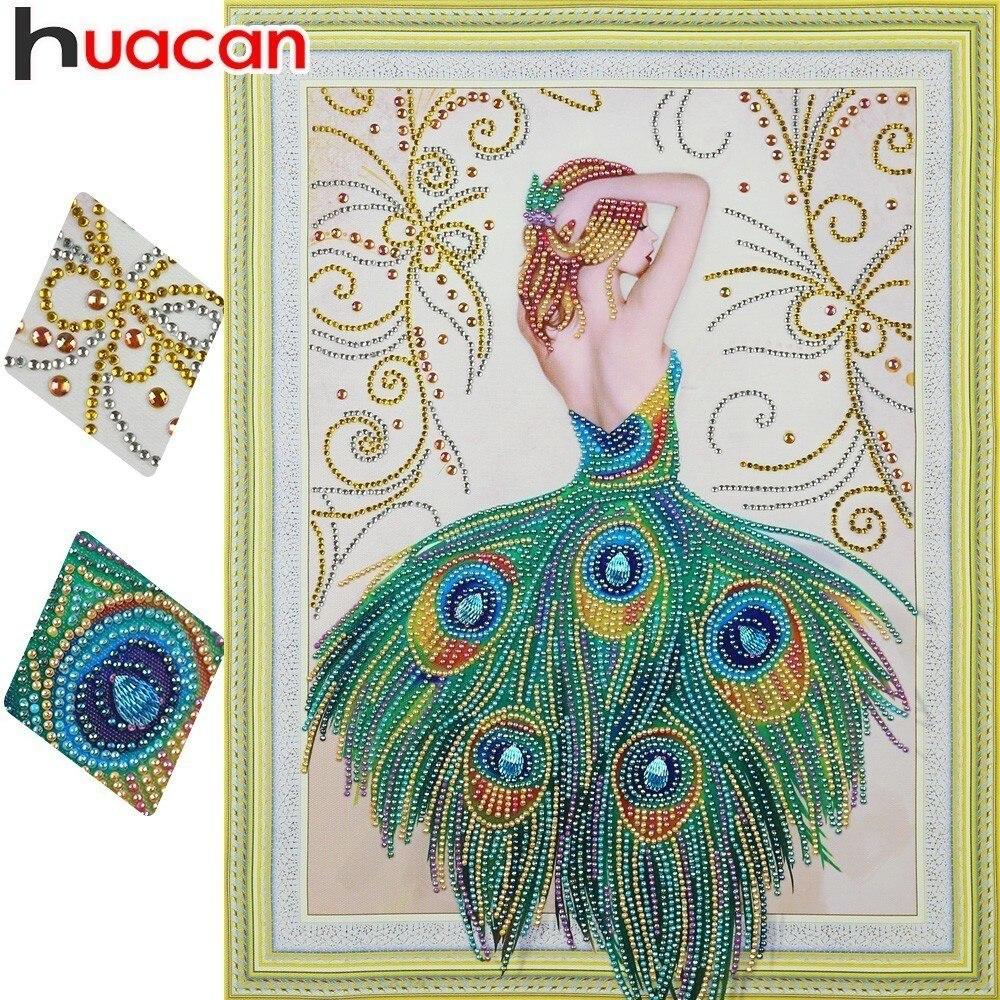 Huacan Speciale A Forma di 5D FAI DA TE Diamante Mosaico Foto Ritratto Di Strass Pittura Del Pavone Del Diamante Della Principessa Decorazione Della Parete 40x50 cm