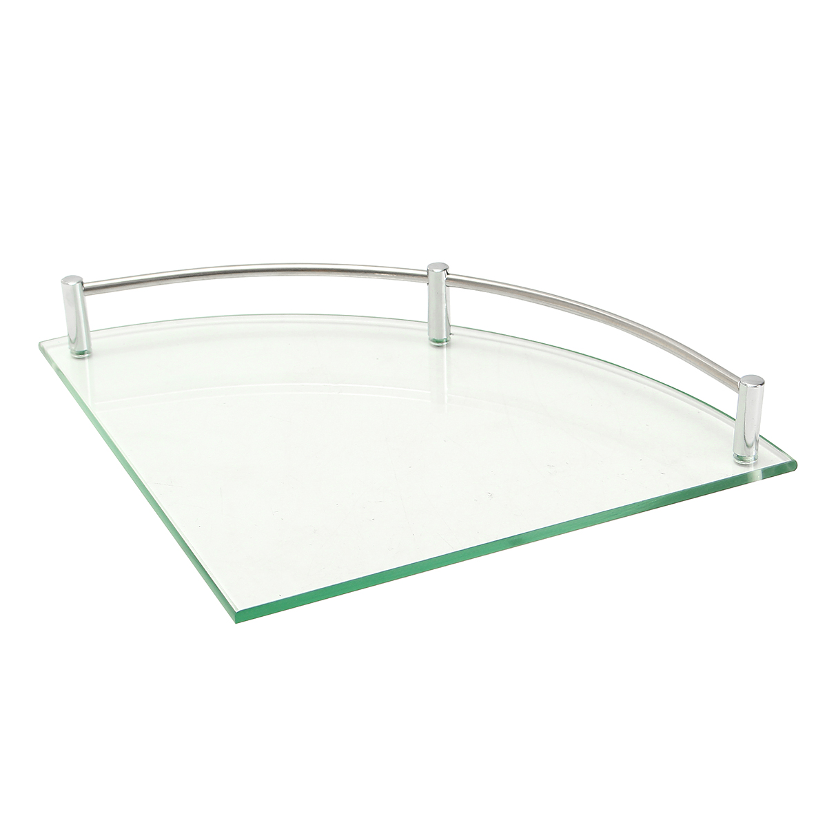 Bathroom Glass Bath Shower Triangular Shelf Holder Organizer Single Layer Modern Style Glass Bathroom Shelves