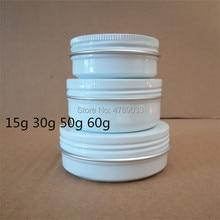 20/50 stücke 15g 30g 50g 60g Aluminium Gläser 15ml 30ml 50ml 60ml leere Kosmetische Metall aluminium Zinn Container Weiß