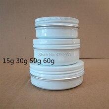 20/50pcs 15g 30g 50g 60g di Alluminio Vasi 15ml 30ml 50ml 60ml Vuoto Cosmetico di alluminio del Metallo Contenitori di Latta Bianco