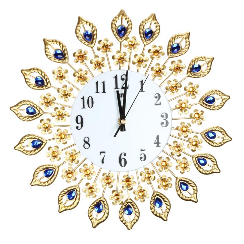 Luxe paon diamant grandes horloges murales acrylique cristal + verre + métal mur autocollant bricolage bref horloge murale pour salon décor