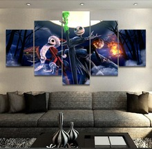 5 Panel The Nightmare Before Christmas Canvas Printed Painting For Living Room Wall Art Home Decor Picture Artworks Movie Poster