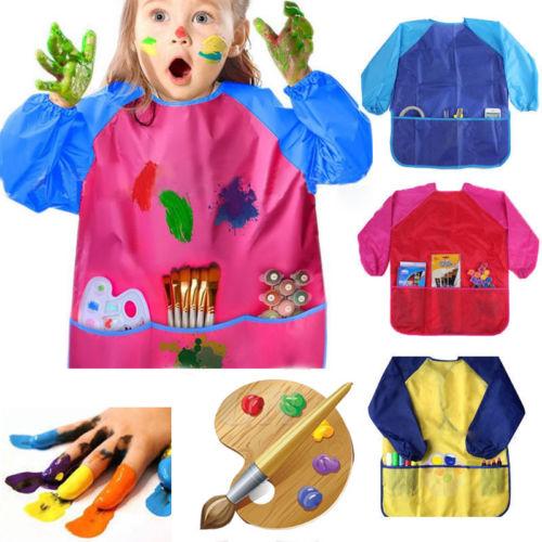 Focusnorm Childs Hot Zakken Waterdichte Kids 1 Stks Lange Mouw Kiel Schort Craft Schilderen Koken T-shirt
