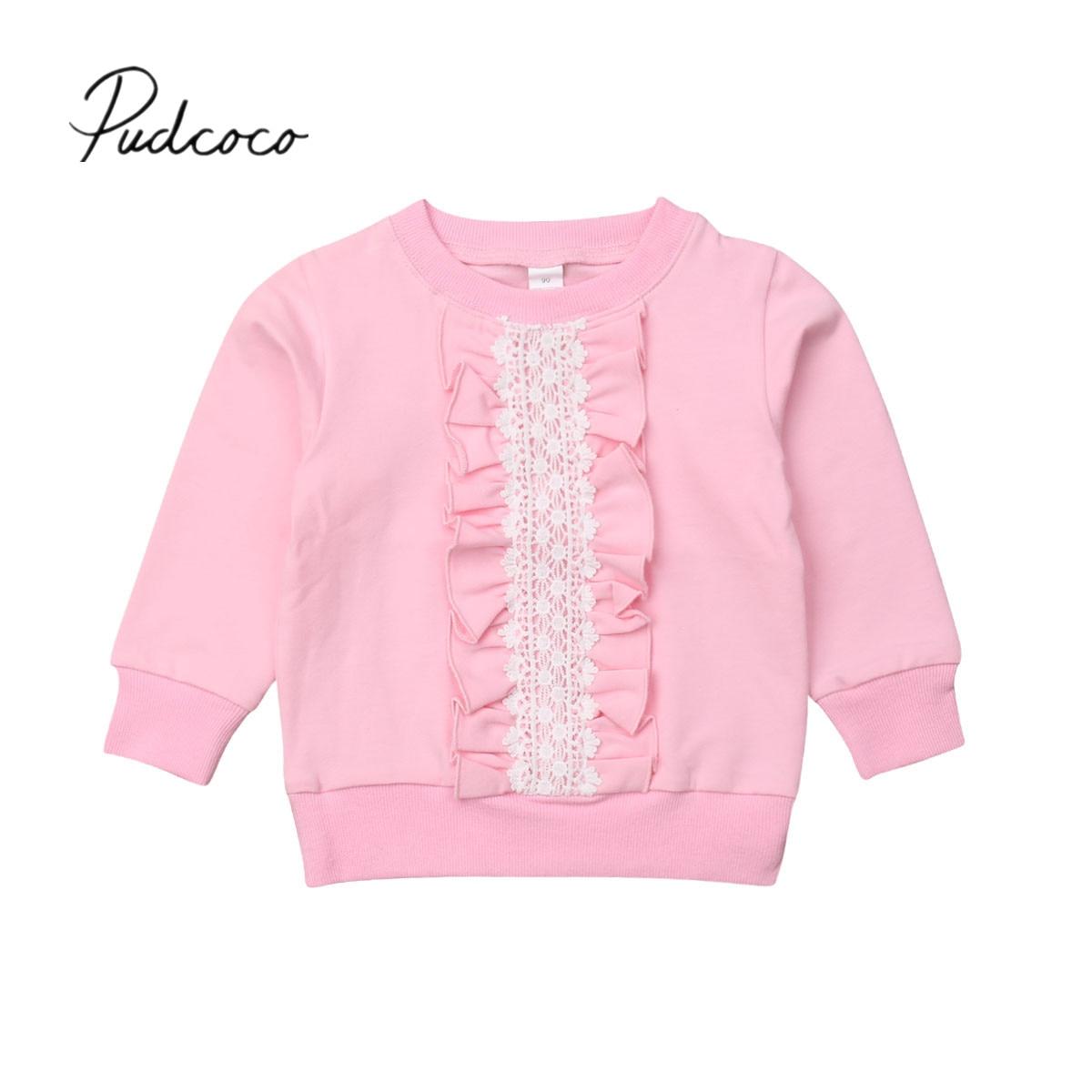 2019 Marke Neue 2-8y Kleinkind Kinder Baby Mädchen Sweatshirt Tops Spitze Rüschen Rosa Langarm Pullover Tops Herbst Frühling Kleidung
