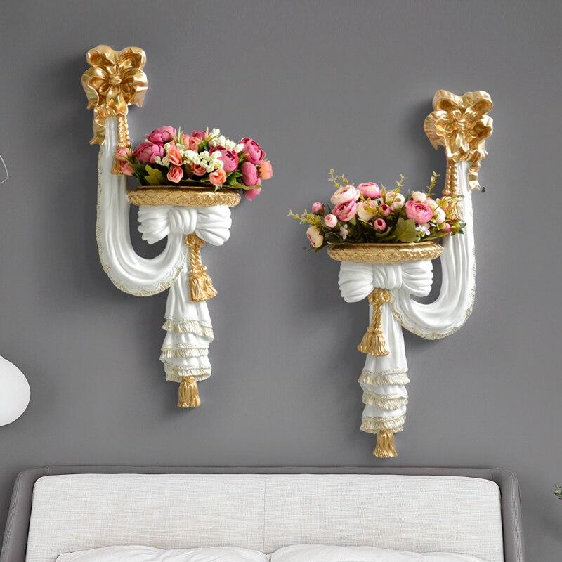 home decorative wall vase artificial flowers shelf pendart art hanging resin mural craft wedding living room ornament wall decor
