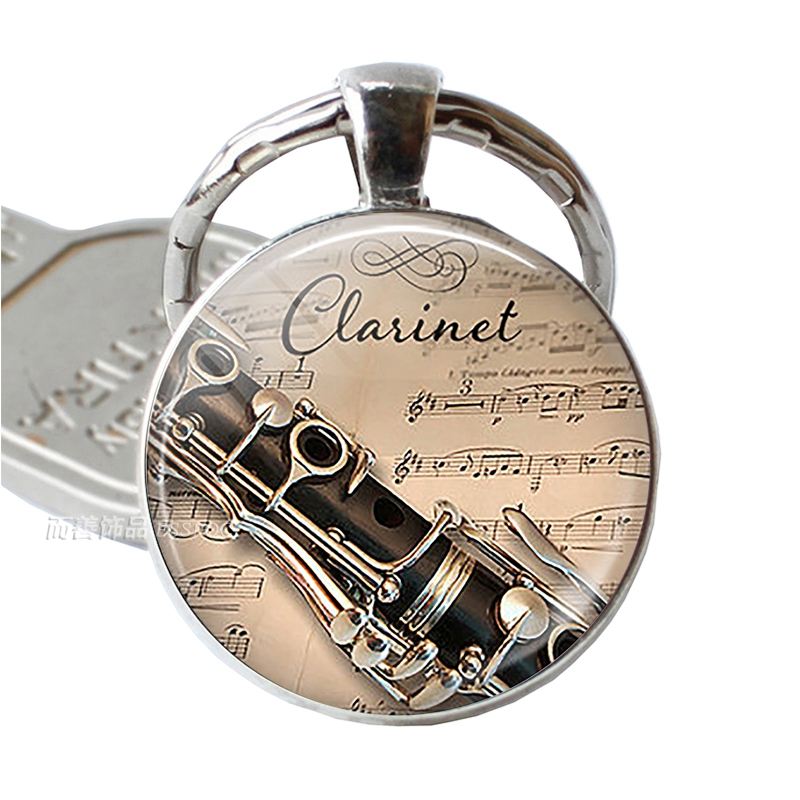 Musical Instrument Clarinet Guitar Flute Violin Music Key Chain Pendant Music Note Keychain Key Rings Music Glass Dome Jewelry image