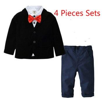 bfe7dbb65 Chaquetas blusas pantalones corbata 4 unids/set traje para niño único  Breasted niños trajes para Bodas de Garcon Mariage chicos blazer