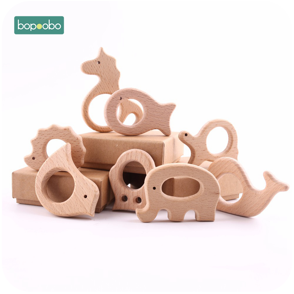 Bopoobo 5pc Wooden Animal Teether Toys Tiny Rod Teether New Born Baby Toys Play Gym Accessories Baby Toys Wooden Teethers
