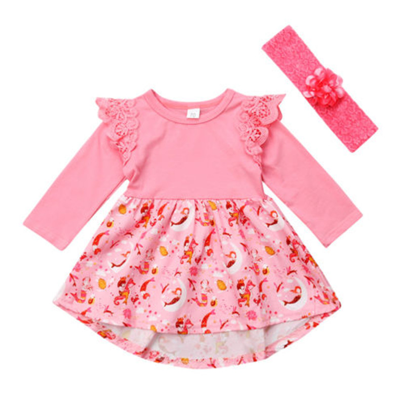 PUDCOCO Dress Long-Sleeve Newborn Baby-Girls Casual Lace Cotton Warm Pink Cartoon Newest