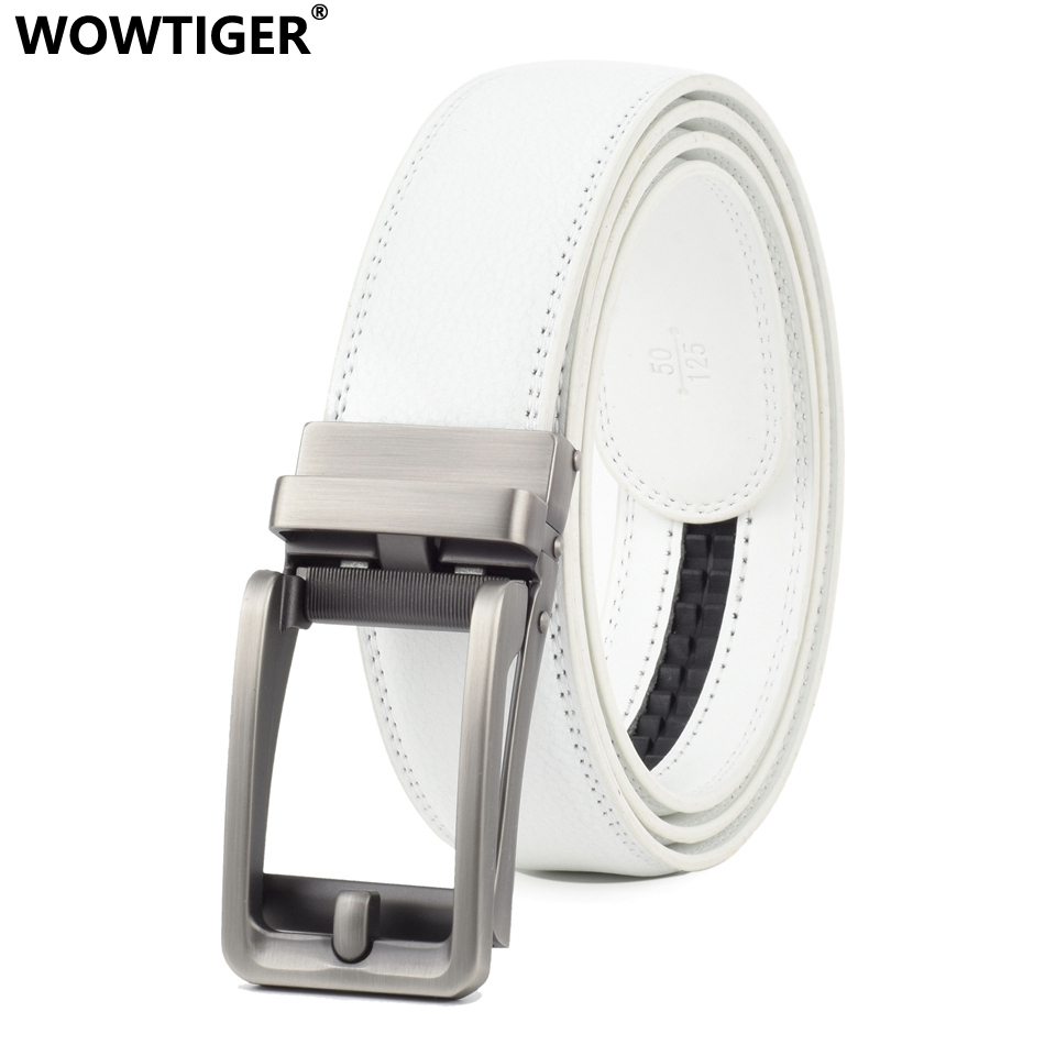 WOWTIGER White Cowhide Genuine Leather Belt For Men High Quality Male Brand Ratchet Automatic Luxury Belts Cinturones Hombre