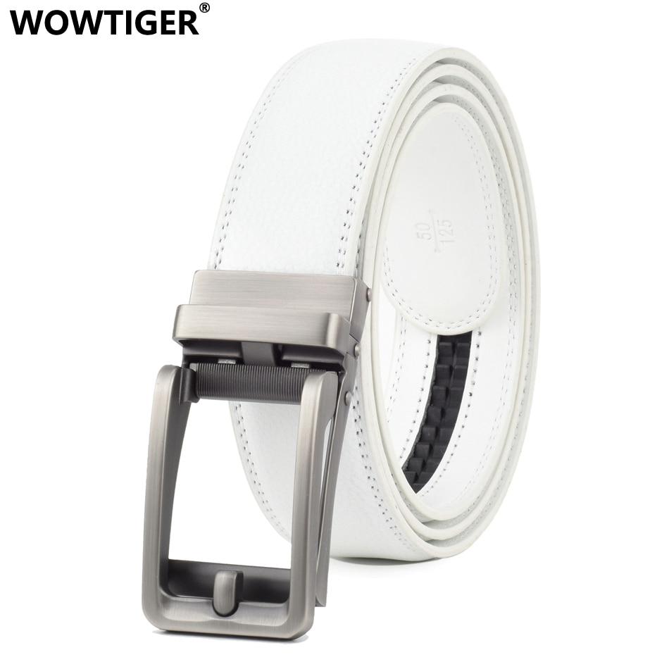 WOWTIGER-Cinturón de piel de vaca auténtica para Hombre, automático, de alta calidad, de lujo, color blanco