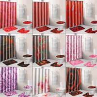 4Pcs Europe Rose Flower Pattern Bathroom Shower Curtain Pedestal Toilet Seat Mat+Lid+Bath Mat Home Decor Anti Slip Carpet