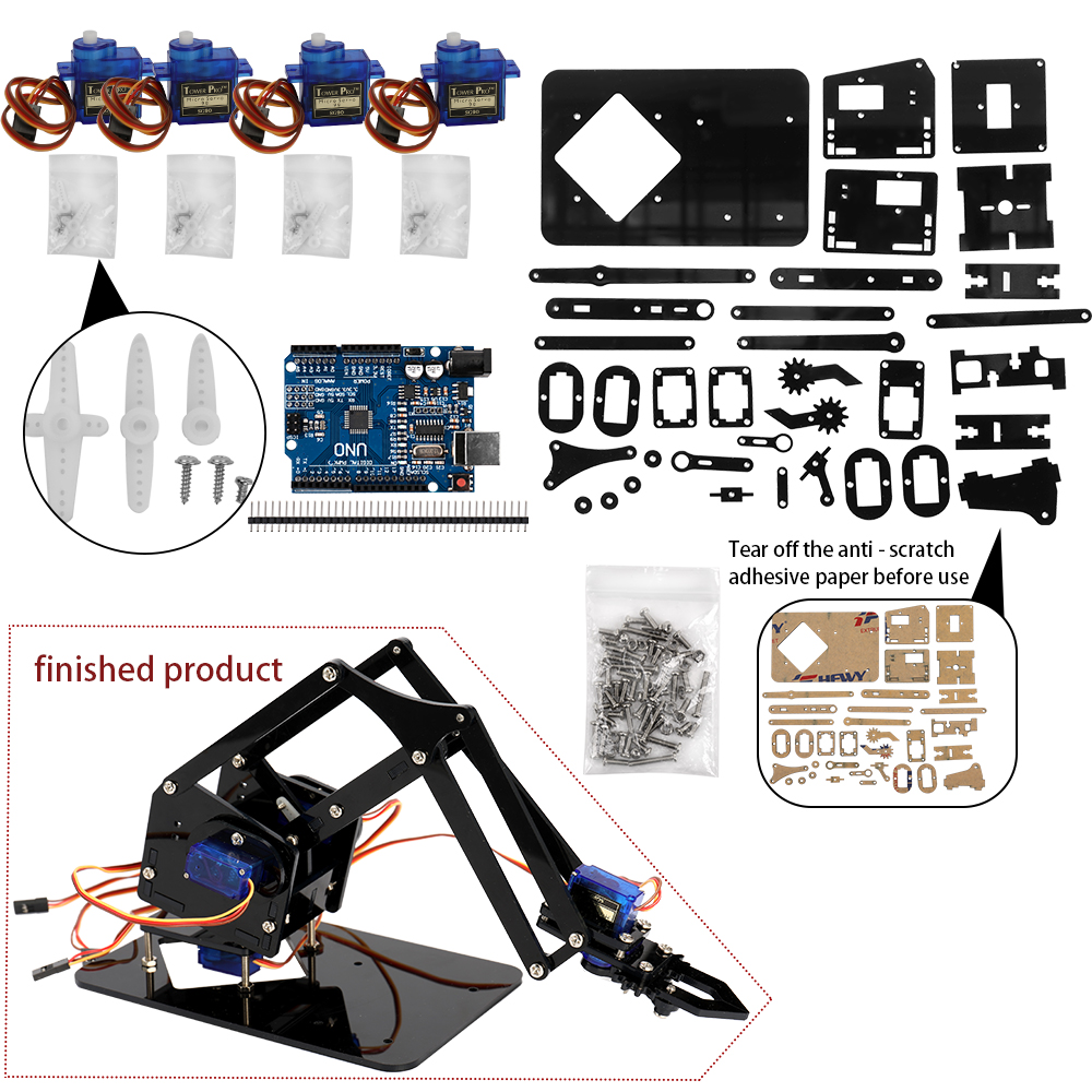 Electronic Components & Supplies Diy Robot Hand Mechanical Arm Robotic Claw Set Suitable For Sg90 Uno Desktop Diy Kit Quality Bearings High Precision Perfect In Workmanship