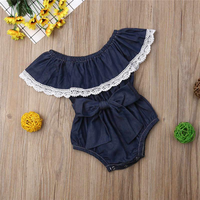 2019 Sweet เด็กทารกเด็กสาวลูกไม้ Denim Romper Big Bow Jumpsuit ชุดสูท Sunsuit ฤดูร้อนอายุ 0-24 เมตรใหม่แฟชั่นขายร้อน