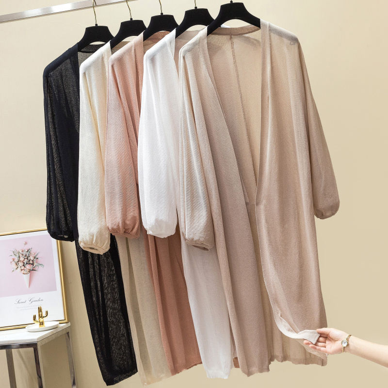 Qiukichonson Long Cardigan Women Summer Sun-Proof Coat 2019 Korean Fashion Casual Puff Sleeve Knitted Cardigan Feminino