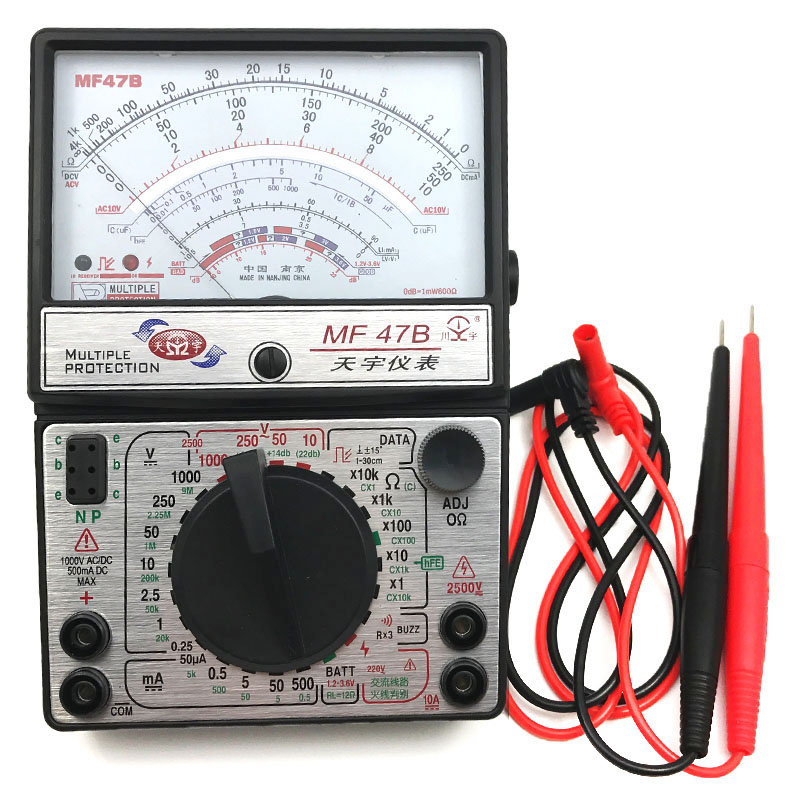 MF47B Voltage Current Tester Resistance Analog Display Fire Line Discrimination Pointer Multimeter DC/AC