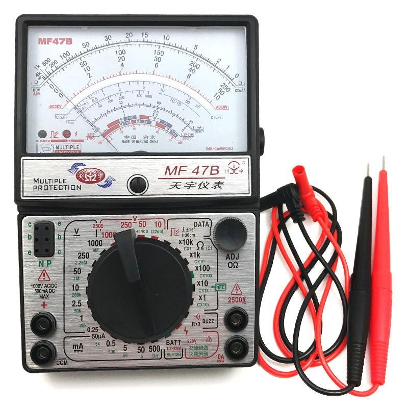 MF47B Voltage Current Tester Resistance Analog Display Fire Line Discrimination Pointer Multimeter DC/AC