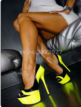 Fashion Yellow Woman high heel peep Toe platform Sexy Pumps Thin female dress shoes stiletto heels OL outfit slip-on
