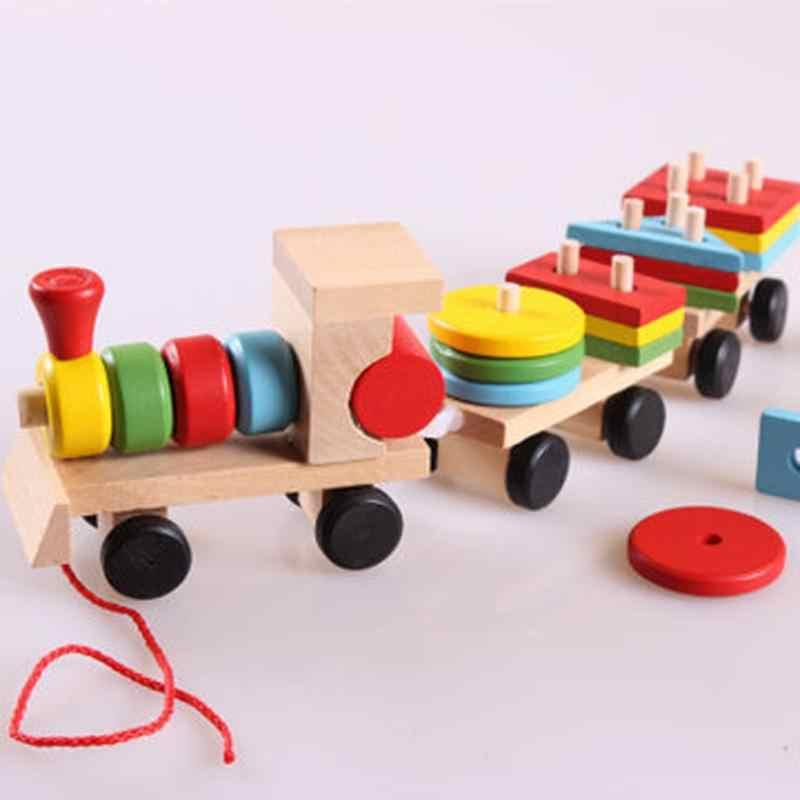 Деревянный Штабелируемый поезд строительные блоки обучающая игрушка для детей игрушечный автомобиль детские красочные деревянные элементы для складывания поезд малыша подарочные игрушечные блоки