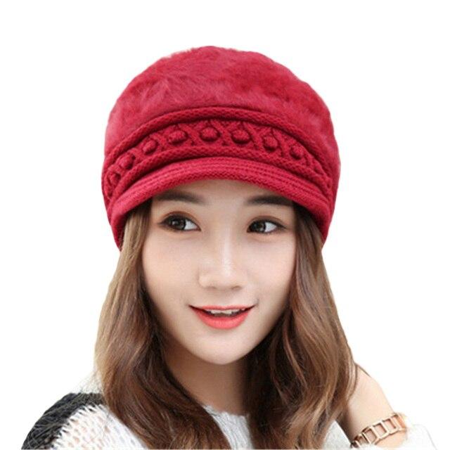 f9d13617a1455 Winter Fleece Warm Knitted Caps Beret Fashion Rabbit Fur Hat Snapback Women  Spring Visors Ladies Solid
