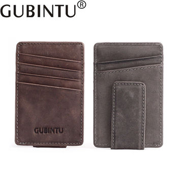 Leather Money Clip Magnet Rfid Wallet for Men Wallet Slim Minimalist Clamps Cow leather slim mens wallet  with hidden pocket wallet
