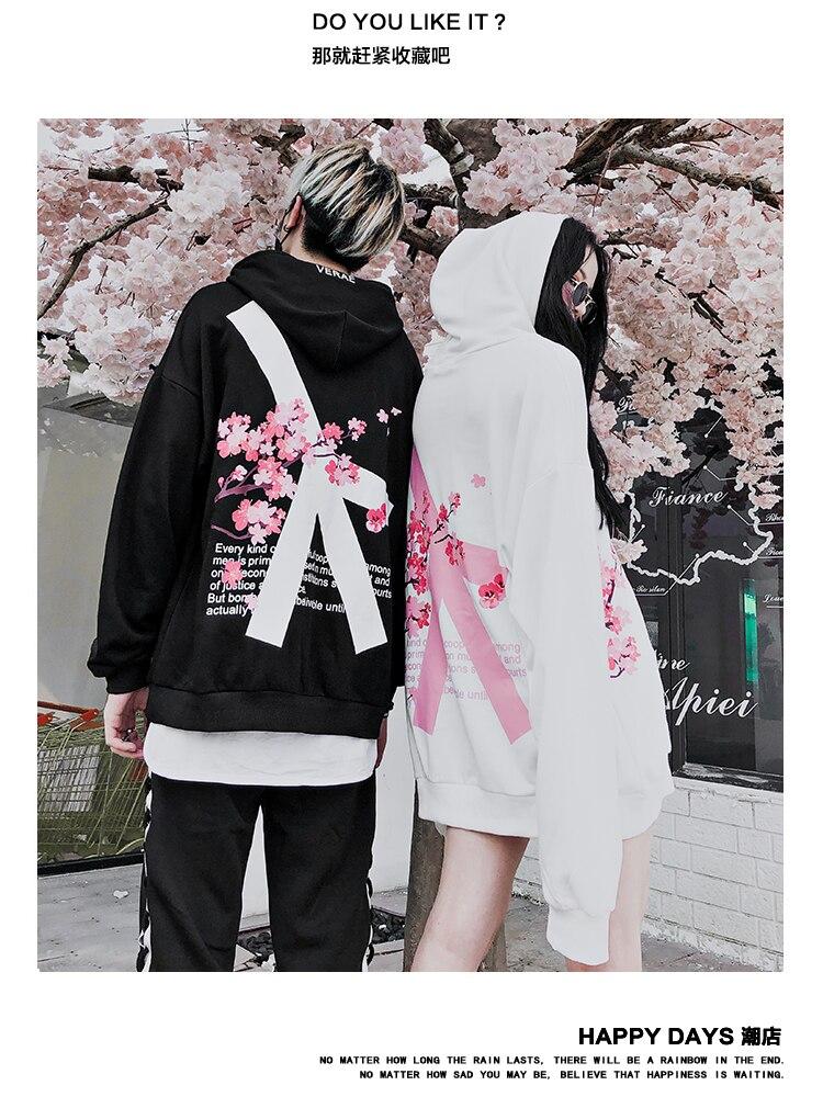Image 5 - 2019 Winter modis Cherry Blossom Print Hoodie Streetwear Hip Hop oversize Women Men Unisex Cotton  Sweatshirts Retro Hoody-in Hoodies & Sweatshirts from Men's Clothing