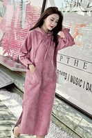 2018 New Women dress Hooded Loose Who Long Lazy Wind Corduroy Garment Dresses Rose Pink 3377