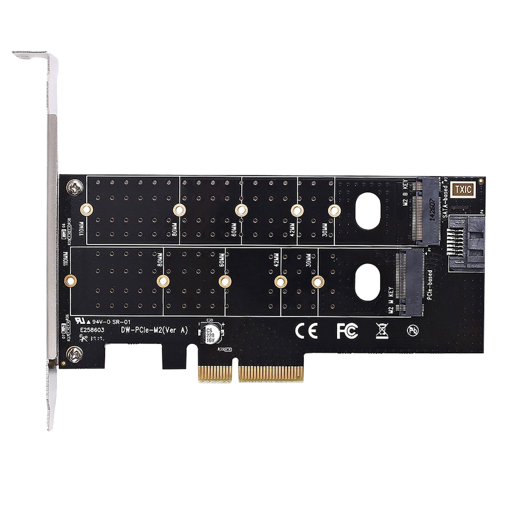 Dual M.2 Pcie Adapter, <font><b>M2</b></font> Ssd Nvme (M Key) Or <font><b>Sata</b></font> (B Key) 22110 <font><b>2280</b></font> 2260 2242 2230 <font><b>To</b></font> Pci-E 3.0 X 4 Host Controller Expansio image