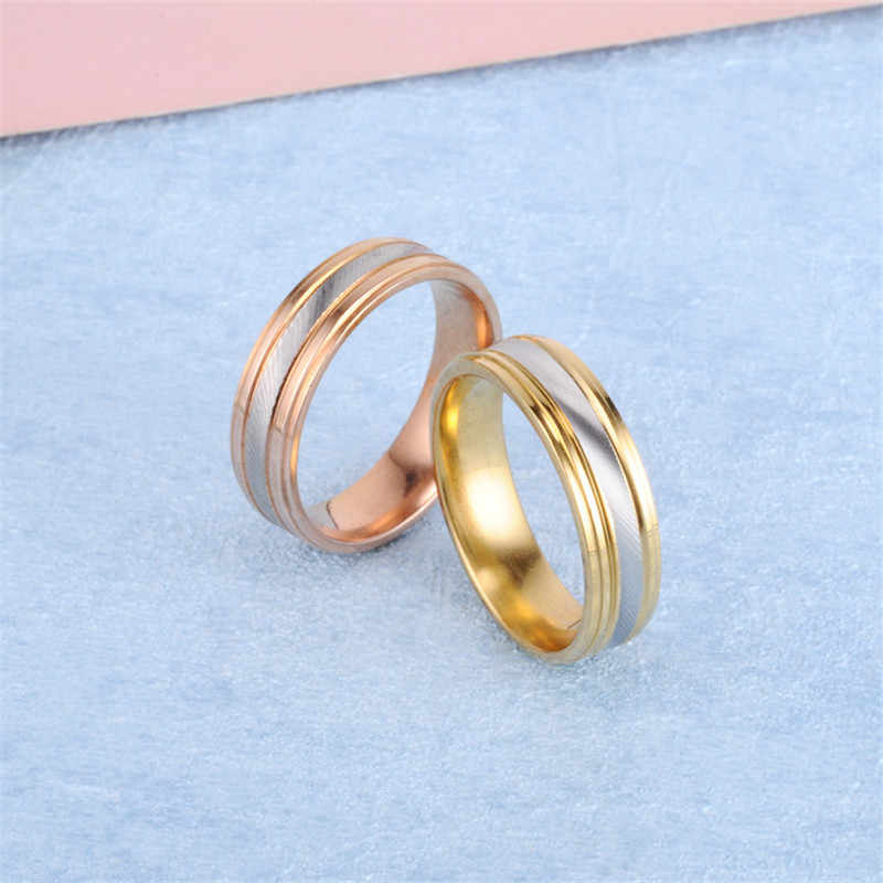 2018 Stainless Steel Finger Rings For Men Twill Gold Ring For Women Couple Wedding Promise Rings Fashion Jewelry Ring For Lovers