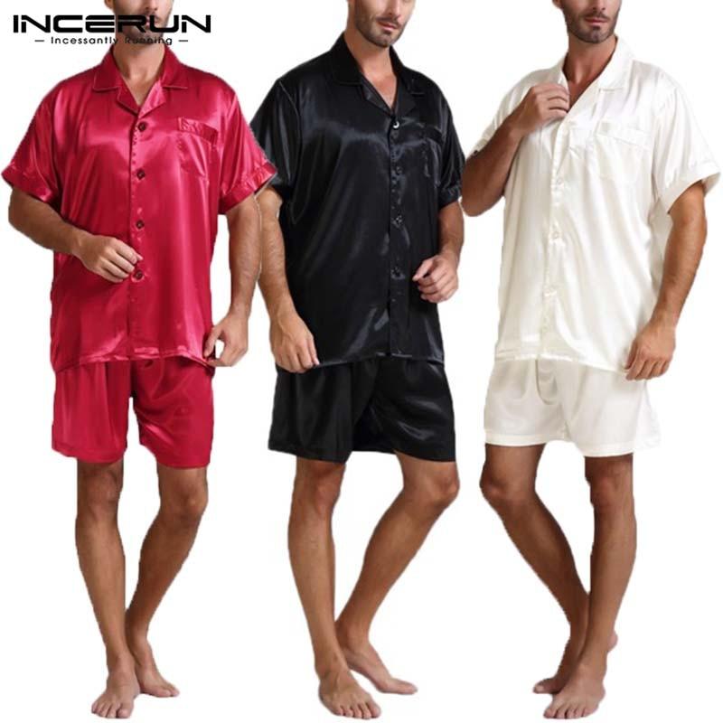 Sleepwear Men Satin Pajama-Suits Shorts Silk Summer And Soft Two-Piece Tops S-5XL Fashion