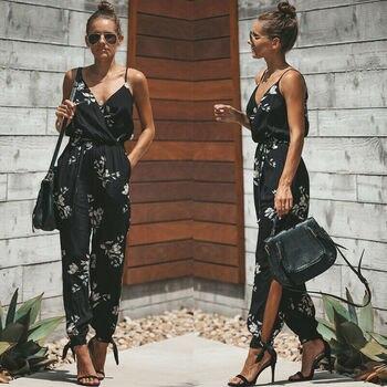 2019 Summer Women Casual Sleeveless V- Neck Jumpsuits Fashion Ladies Flower Print Bodysuit Wide Leg Pants Long Trousers 1