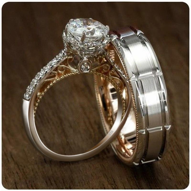 Huitan горячая Распродажа двухцветные посеребренные мужские свадебные наборы классические женские специальные праздничные кольца с циркони...