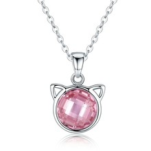 Genuine 925 Sterling Silver Cute Cat Pendant Necklaces With Pink Zircon For Women Animal Jewelry Scn083 BAMOER