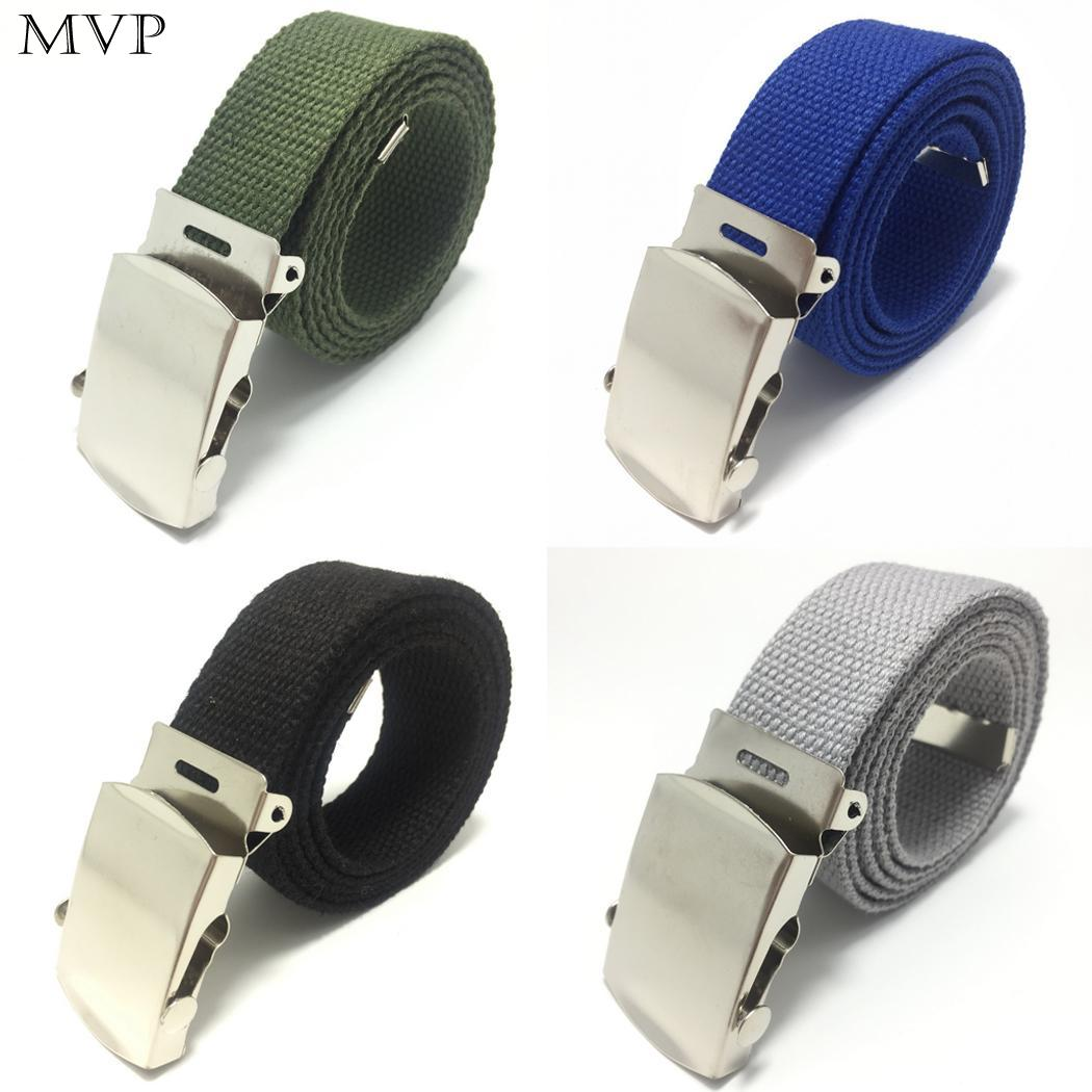 Unisex men woman Casual Solid Color Webbing Canvas Waist   Belt   Automatic Buckle Waistband Military Equipment Army   Belt   Practical