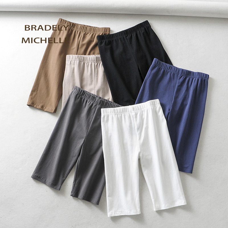BRADELY MICHELLE sexy women cotton high waist elastic pure color slim Knee-Length   leggings   female