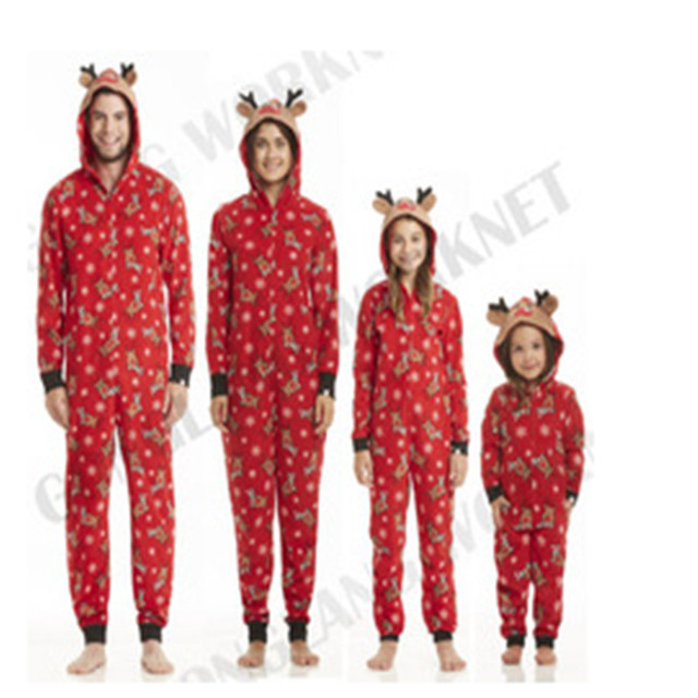 d360a6e60a CANIS Family Matching Christmas Pajamas Clothes Set Mom Dad Kids Deer  Sleepwear Nightwear Zip Familia Pijama Baby Rompers Winter