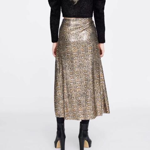 Autumn and Winter Snake Print Long Skirt Sequined High Waist Skirt Lady Fashion Streetwear 4