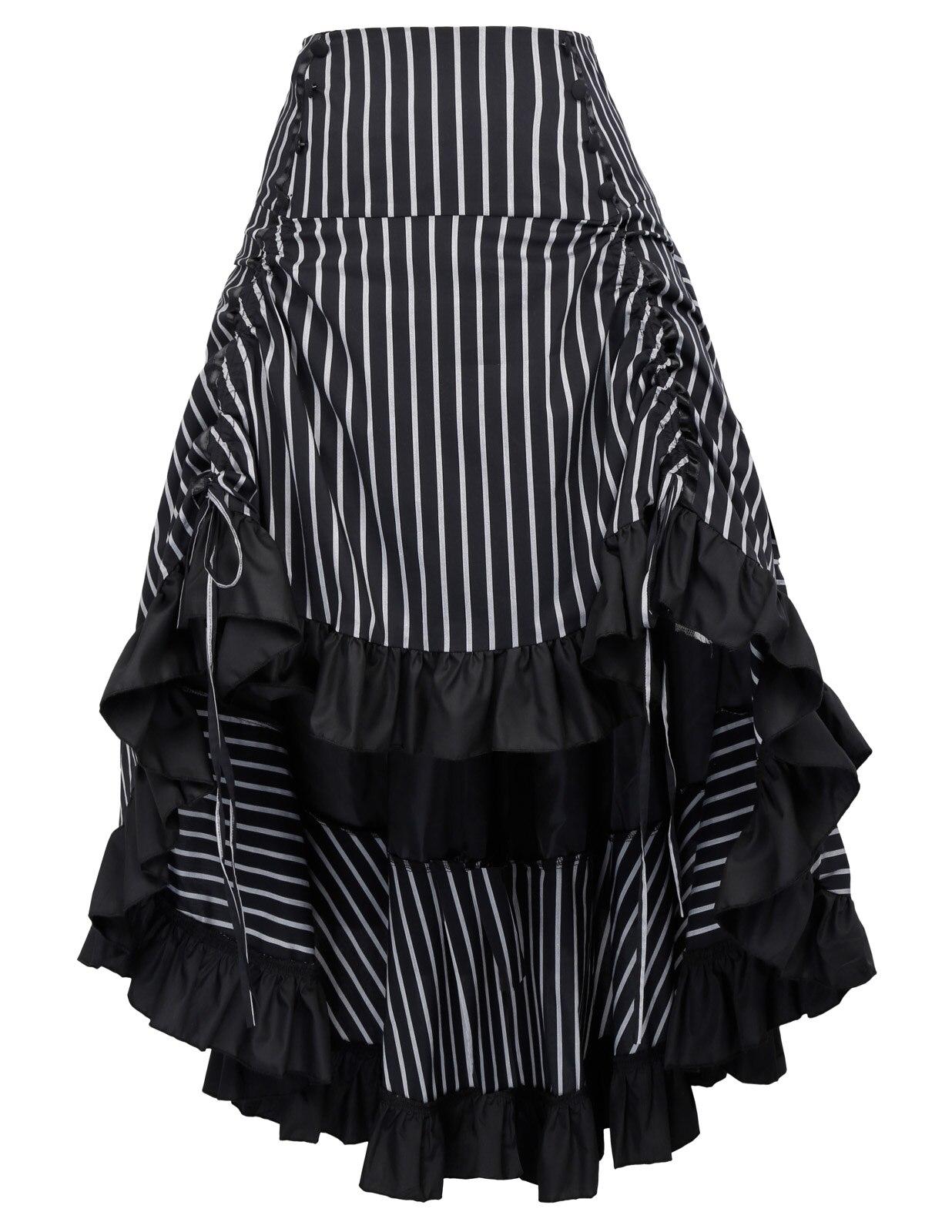 Винтажная юбка макси в полоску со сборками в стиле стимпанк, средневековые, рок, на шнуровке, готические, ретро, длинные, вечерние, Клубные, с