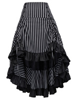 maxi Vintage skirt Striped pattern Gathered Steampunk medieval rock lace up gothic retro long party club High Low Skirts womens
