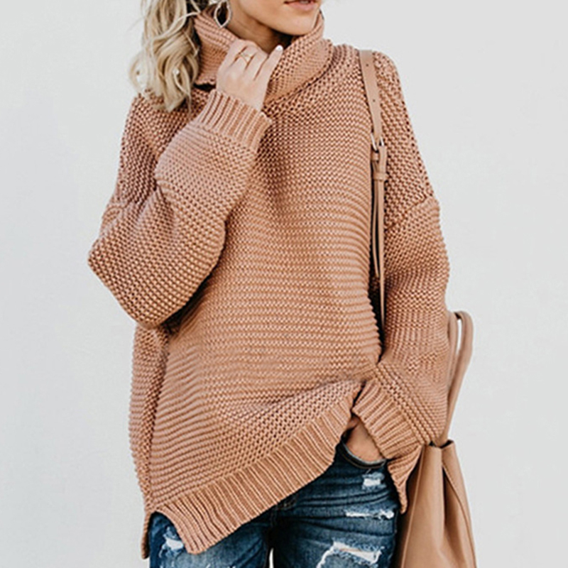 Women's sweater turtleneck winter Pullover knitted christmas Sweater Winter Female Casual Loose Office Lady Knit Sweater Tops