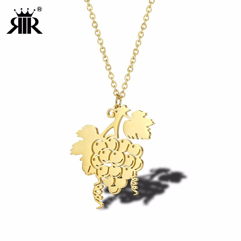 RIR Stainless Steel Golden Grape String Necklace Creative Art Fruit Love Grape Wine Woman Jewellery Necklaces
