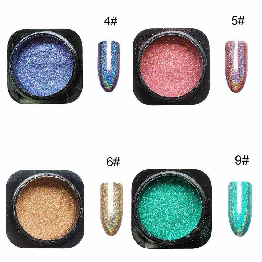 6 cores prego glitter holográfico para unhas a laser pó cromo pigmento em pó para unhas manicure diy arte do prego decorações sf3056