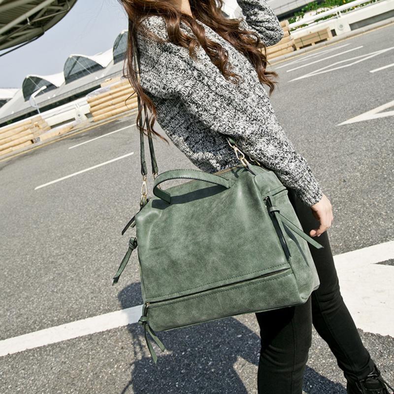 Women Messenger crossbody Bag Matte Leather Nubuck Leather Handbag Vintage Solid tote Single Shoulder Bag* 2
