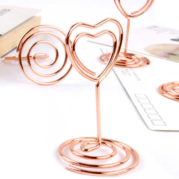 20pcs Mini Place Card Holders Table Number Stands Table Card Holder Wire Table Picture Photo Holder with Heart Shape Menu Memo