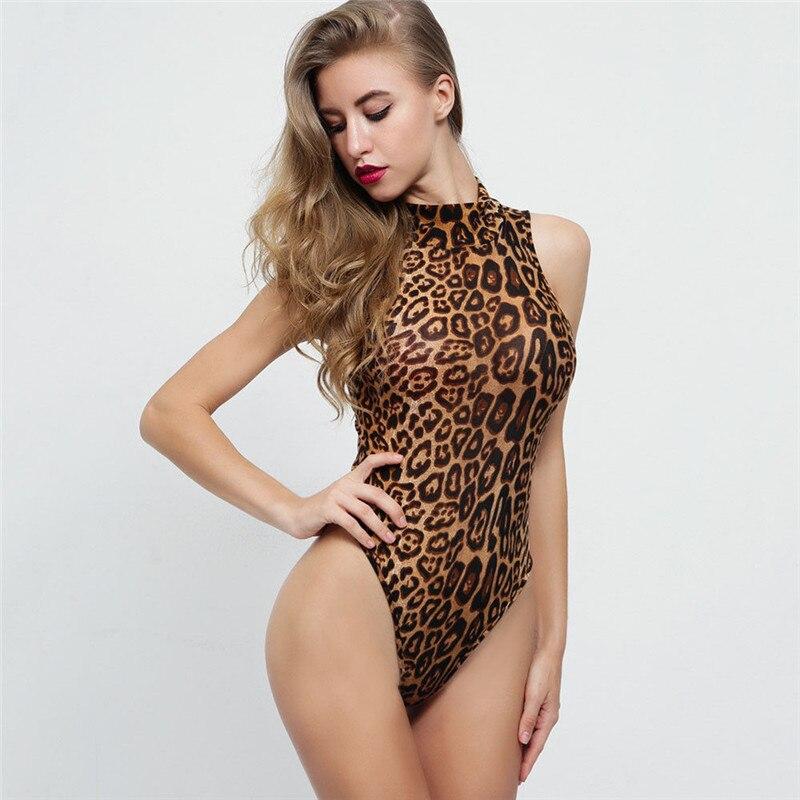 Women's Clothing Hirigin Newest Womens Leopard Bodycon Girl Bodysuit Sleeveless Bandage Jumpsuits Leotard Tops Fine Quality