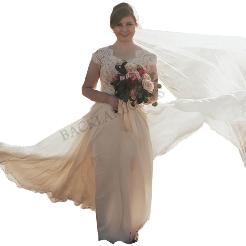 Romantico Abito Da Sposa In Pizzo 2018 Lvory/bianco Vestido De Noiva Sposa Pannello Esterno Del Vestito Chiffon Costruzione Robusta