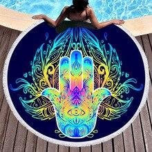 Mandala Round Beach Towel Circle Tassels Lotus Hand Microfiber Towel Bohemian Yoga Mat Summer Sport Large Toalla Bath Picnic Pad mandala lotus lotus printed long fringe round beach towel