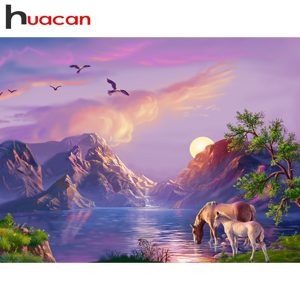 Huacan Diamond Mosaic Landscape Rhinestones Pictures Diamond Painting Mountain Diamond Embroidery Cross Stitch Full Square